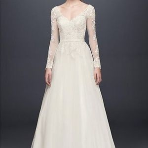 Ivory Illusion Long Sleeve Wedding Dress
